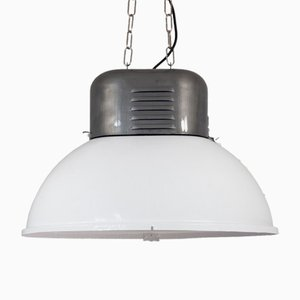 Large Polish Oval Factory Pendant Lamp from MESKO, 1960s