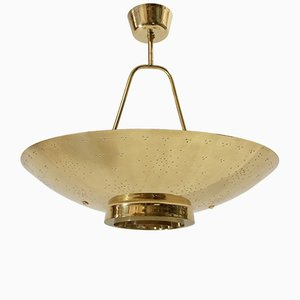 UN Brass Ceiling Lamp by Paavo Tynell for Taito, 1950s