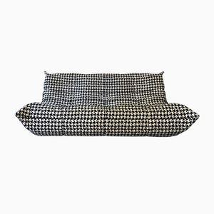 Vintage Togo 3-Sitzer Sofa in Schwarz & Weiß von Michel Ducaroy für Ligne Roset
