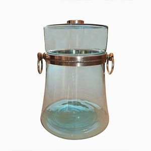 Jar in Blue Glass and Silvered Metal, 1970s