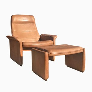 Vintage DS-50 Brown Neck Leather Lounge Chair & Ottoman from de Sede