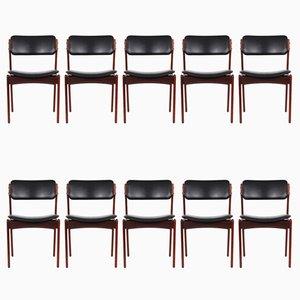Chaises de Salle à Manger Modèle 49 en Palissandre par Erik Buch pour O.D. Møbler, 1960s, Set de 10