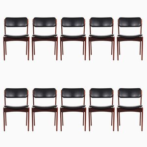 Modell 49 Rosewood Dining Chairs by Erik Buch for O.D. Møbler, 1960s, Set of 10