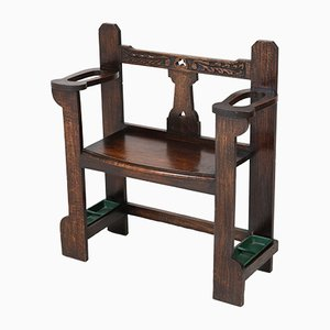English Arts & Crafts Oak Hall Bench with Umbrella Stand, 1900s