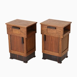 Art Deco Dutch Hague School Oak Nightstands, 1920s, Set of 2