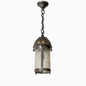 Art Nouveau Arts & Crafts Dutch Patinated Brass Hall Lantern with Beveled Glass, 1900s