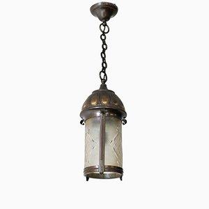 Lanterna Art Nouveau Arts & Crafts in ottone patinato e vetro smussato, Paesi Bassi, inizio XX secolo