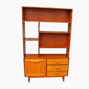 Teak Freestanding Wall Unit with Bookshelves and Display Shelves, 1970s