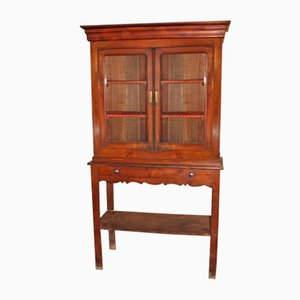 Chestnut Cabinet on Stand with Drawer, 1920s