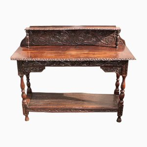 Dark Oak Carved Console Table, 1900s