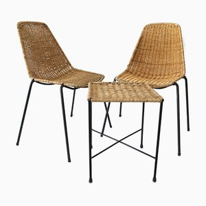Vintage 2 Basket Chairs & Stool by Gian Franco Legler, 1950s