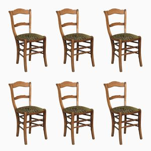 Antique French Chairs with Green Upholstery, Set of 6