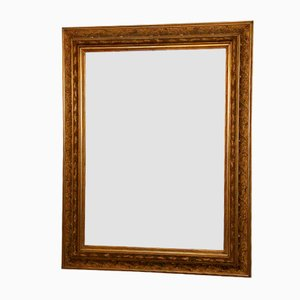 Espejo grande facetado con marco dorado, siglo XIX