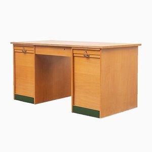 Großer Eichenholz Schreibtisch, 1950er