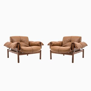 Mid-Century Brazilian Lounge Chairs in Leather & Rosewood by Percival Lafer, Set of 2