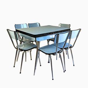 Set da pranzo in legno di formica blu, anni '60