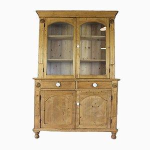 Antiker viktorianischer Pinienholz & Glas Schrank