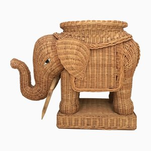Braided Wicker Elephant Side Table, 1960s