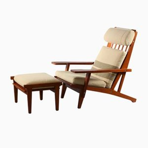 GE290 Lounge Chair & Ottoman in Solid Oak by Hans Wegner for Getama, 1951