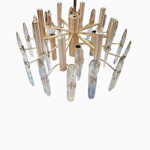 Lámpara de araña de cristal y metal cromado de Gaetano Sciolari, 1963