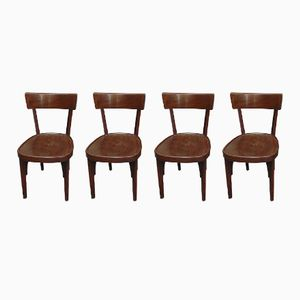 Wooden Tavern Chairs, 1950s, Set of 4