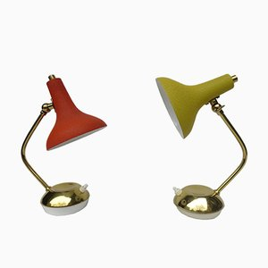 Lámparas de mesa de latón y esmalte encogido, años 50. Juego de 2
