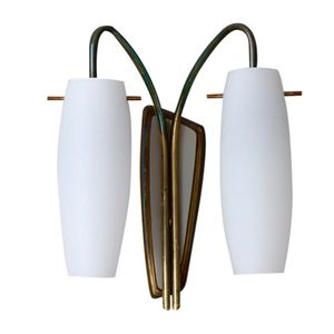 Brass & Opal Glass Wall Light, 1950s