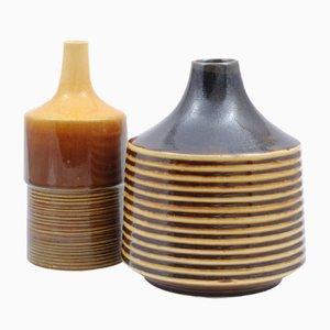 Jarrones checoslovacos Mid-Century de cerámica de Keramo Kozlany & Jihotvar Bechyne. Juego de 2