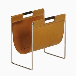 Magazine Holder in Light Brown Leather from Brabantia, 1970s