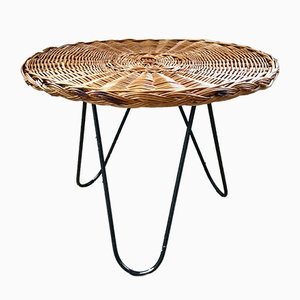 Coffee Table in Rattan & Metal, 1960s