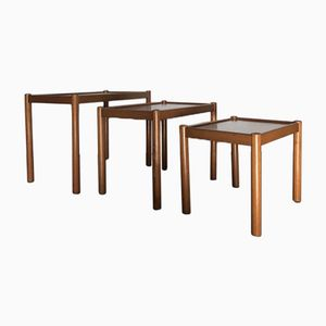 Mid-Century Beech & Teak Nesting Tables from Habitat