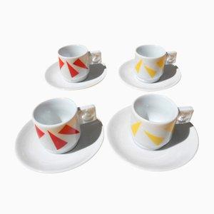 Tazas de café y platillos de Arnaldo Pomodoro para IPA, años 90. Juego de 4