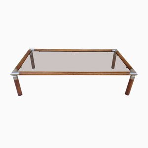 Vintage Beech & Smoked Glass Coffee Table, 1970s