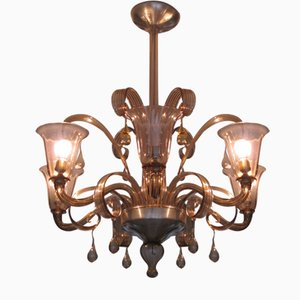 Lámpara de araña de cristal de Murano, años 50