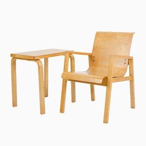 Sedia nr. 51/403 Mid-Century con tavolino di Alvar Aalto per Finmar