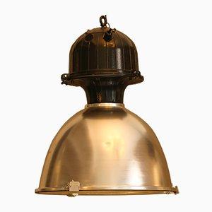 Grande Lampe d'Usine Noire et Argent, 1980s