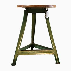 Green Industrial Wooden Tripod Stool, 1950s