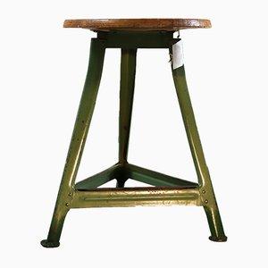 Grüner industrieller Dreibein Holz Hocker, 1950er