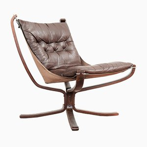 Vintage Low Back Falcon Chair in Brown Leather by Sigurd Ressell for Vatne Møbler