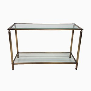 Brass & Glass Console Table, 1980s