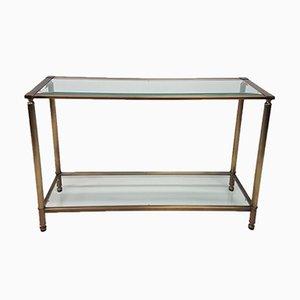 Mesa consola de vidrio y latón, años 80