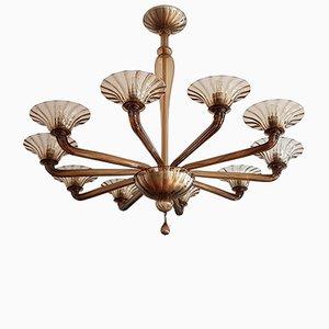 Lámpara de araña Art Déco de cristal de Murano, 1936