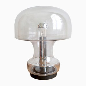 Large Mid-Century Glass Mushroom Table Lamp from Limburg