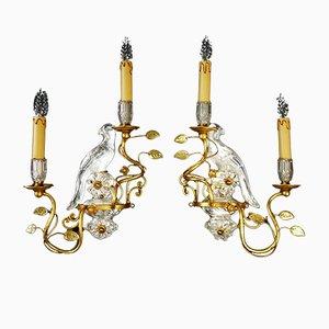 Lámparas de pared en forma de pájaro Mid-Century de Maison Bagues. Juego de 2