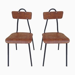 Mid-Century Veneered Children's Chairs, Set of 2