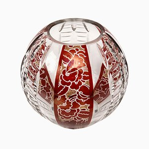 Art Deco Vase in Enameled Bohemian Glass by Karl Palda, 1930s