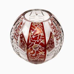 Vase Art Déco en Verre Bohémien Émaillé par Karl Palda, 1930s