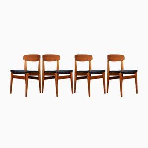 Chaises de Salon Mid-Century en Teck et Similicuir de Nathan, 1960s, Set de 4