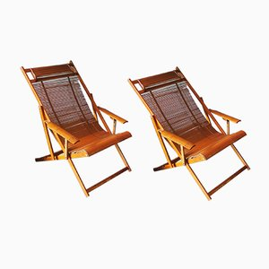 Japanese Bamboo Deck Chairs, 1950s, Set of 2