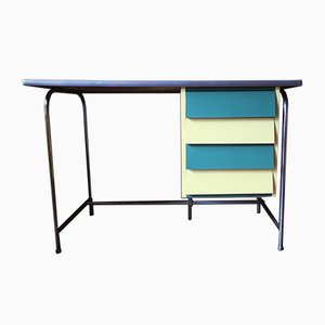 Italian Colorful Tubular Steel & Formica Desk, 1950s